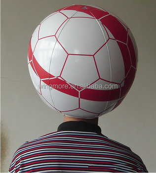 inflatable football hat, inflatable soccerball hat, inflatable hat