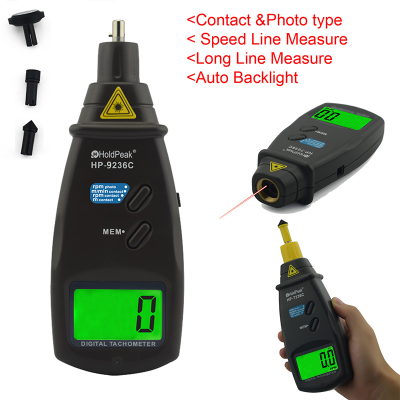Contact and photo type Auto backlight digital motorcycle tachometer
