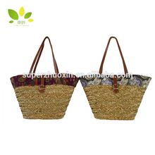 Colorful lady fashion beach recycled straw bag