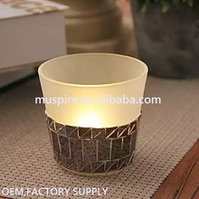 2017 New design matte glass candle holder for decoration