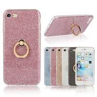 2016 New Product Luxury Shining Electroplating Bling Glitter TPU Ring Stand Case Banck Cover Cases for iphone 7 cases CA1883