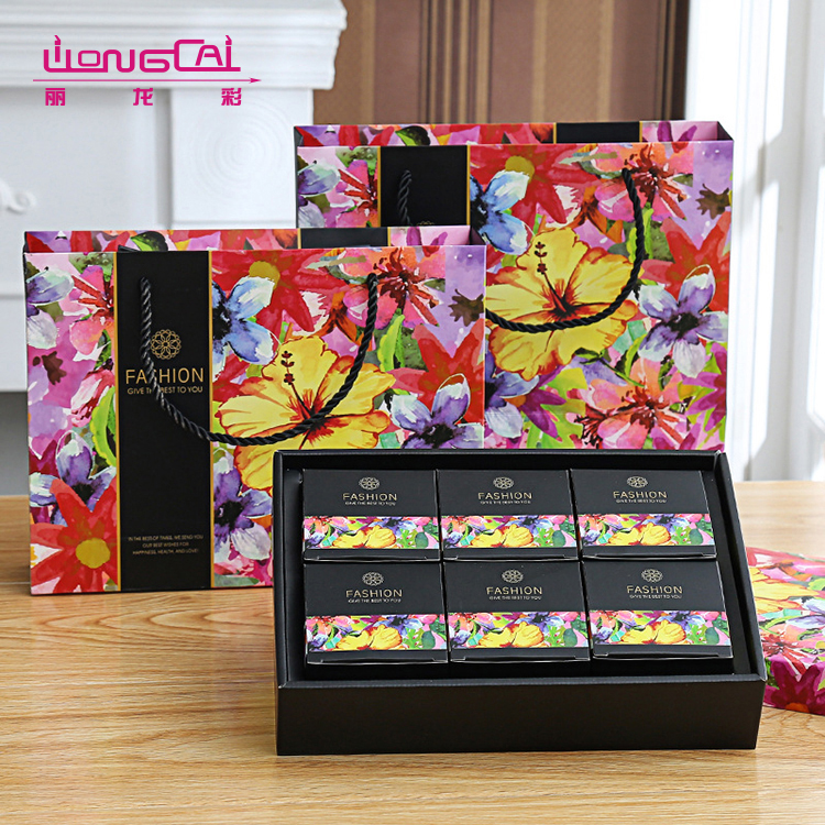 Delicate floral colorful printing luxury gift box mooncake packaging with lid