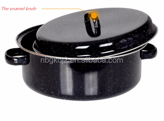 enamel handle and stainless steel rack of carbon steel enamel roast pot