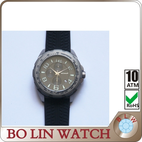 Titanium band chronograph watches men with good backcase