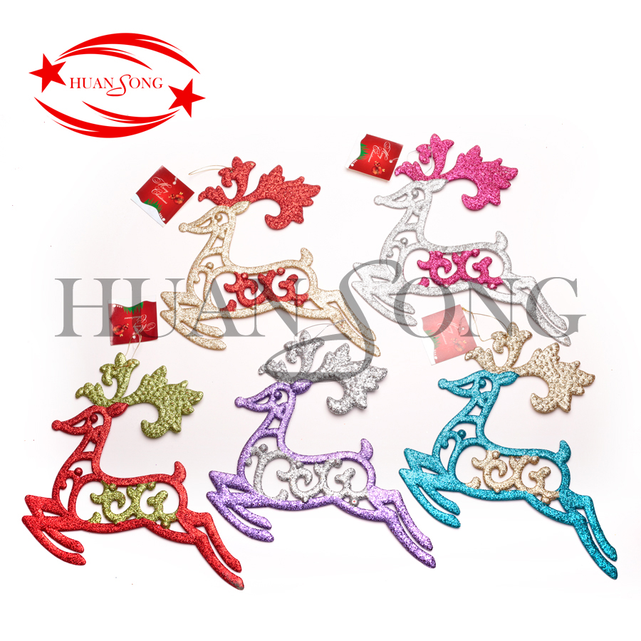 Glitter Christmas double color deer plastic Xmas Tree Hanging Ornament Christmas Decor