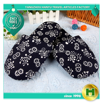 Luxury Sponge Hotel Slippers / Chinese Indigo Flower Cloth Slippers with Thick Sole / Big Size VIP Slippers with Dotted Fabric