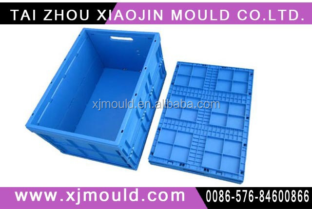 injection plastic folding container with cover moulds,plastic foldable container mold
