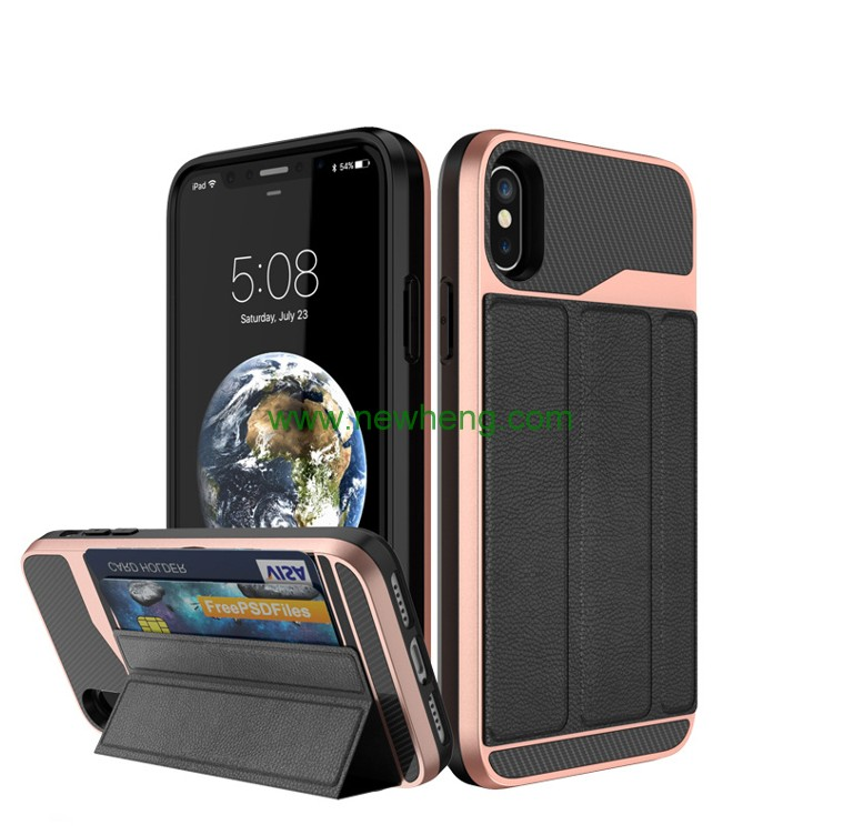 Fashion Folding Stand Pu Leather hard pc shockproof back case for iPhone X