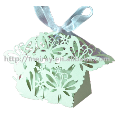 China wholesale party supply mint color laser cut butterfly box for wedding guests gifts