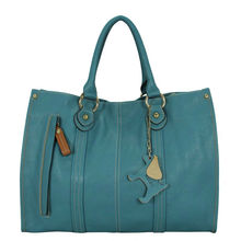 2017 Blue leather tote metal zipper leather pu women trend brand handbag for wholesale