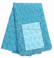 Turquoise African Dubai Cord Lace With Stones French Lace Fabric