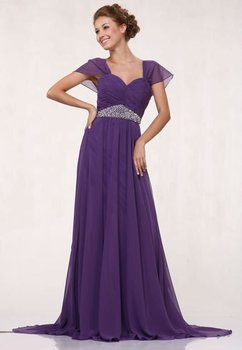 newest strap chiffon long evening dress