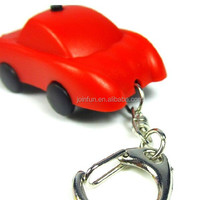 mini plastic led keychain,cute car pvc keychain with LED light,Fashion plastic keychain led light
