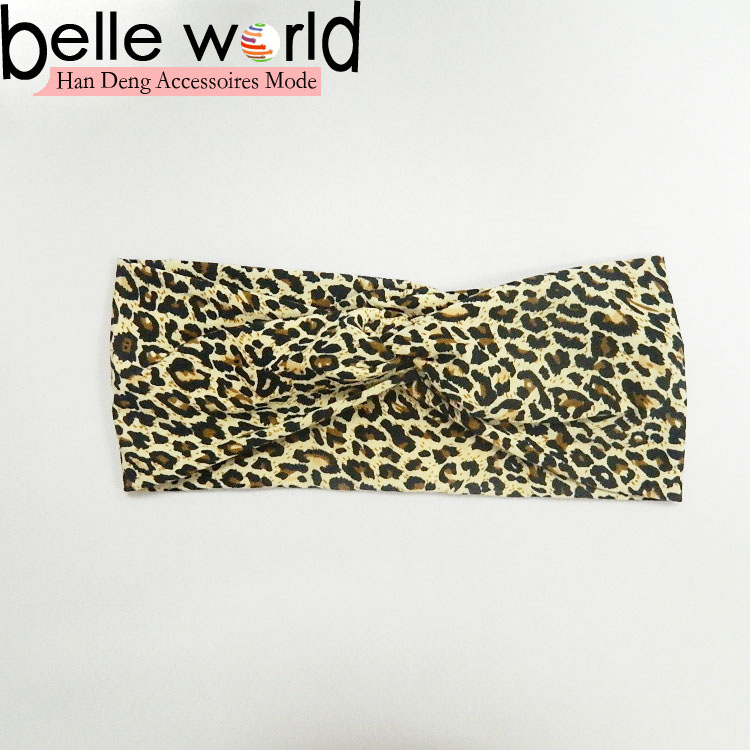 Fashion Ladies Trend All-match Leopard Cross Elastic Headband