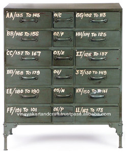 Vintage Industrial Antique Look Cabinet with Drawers for Living Room and Offices