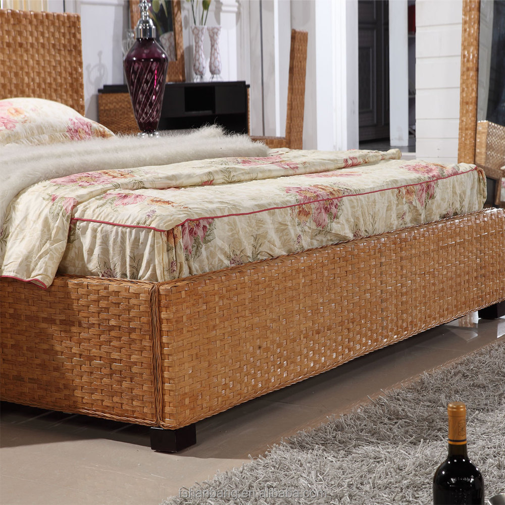 China High Quality Customerized 5 Star Leisure Natural Rattan Wicker Hand Woven Resort Hotel Bedroom Furniture Set