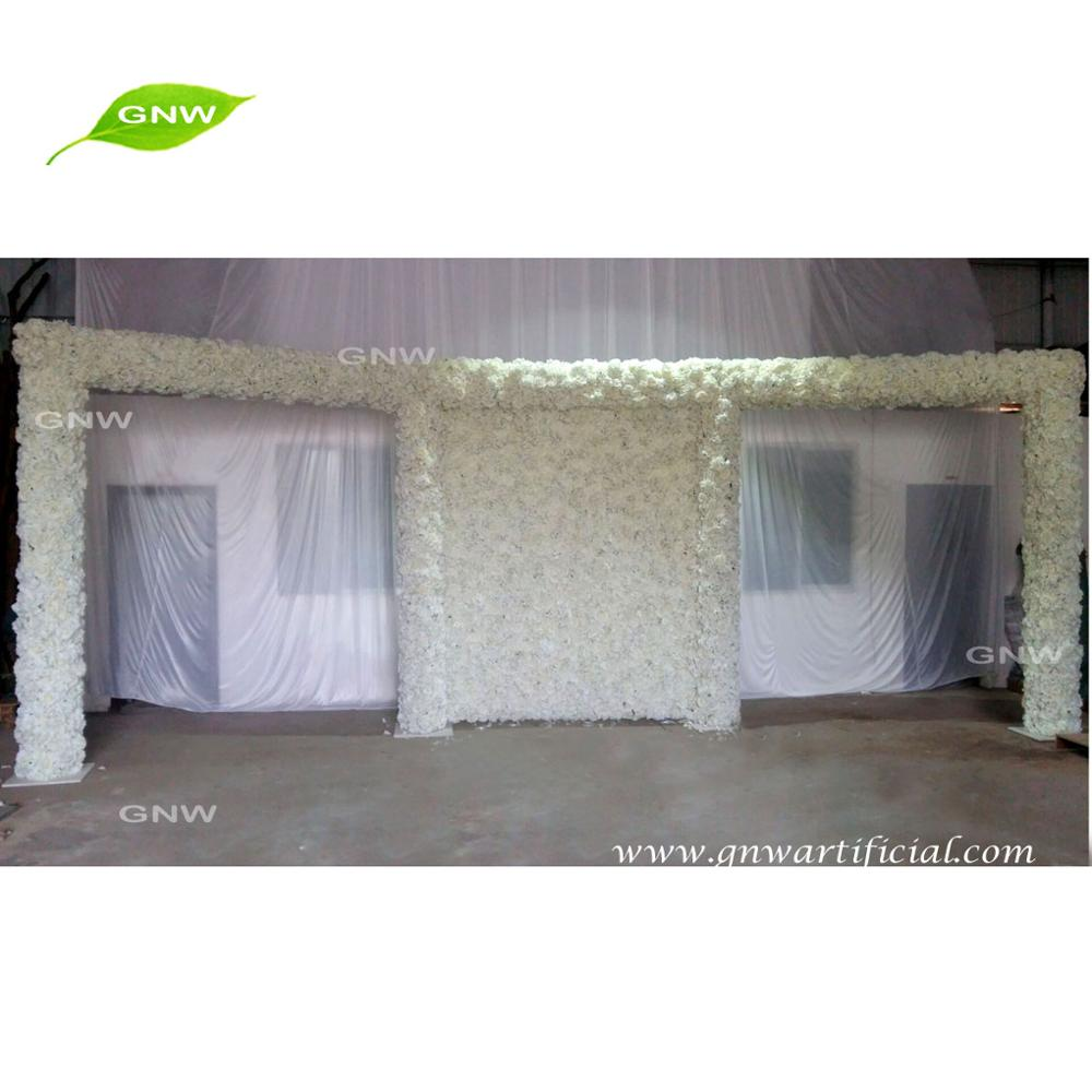 GNW FLWA1707005 White Floral Decor Wedding Backdrop for Stage