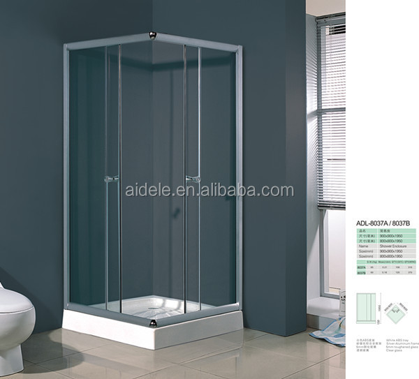 Siding door glass simple shower enclosure