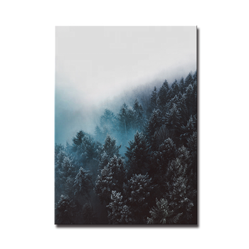 Indigo Blue mountain forest fog large modern landscape print home hotel decoration green wall art