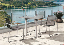 New design dining stainless steel table with teak wood arm chair