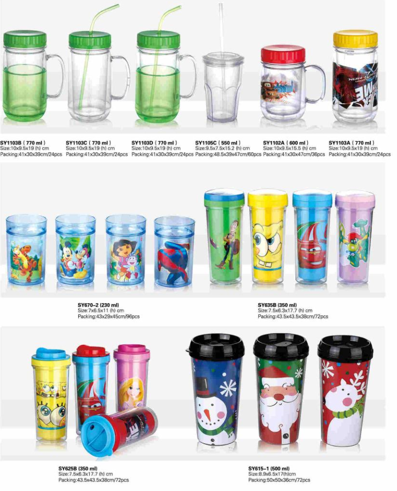 Fashionable First Rate High Quality food grade plastic tumbler cup with straw lid Bpa free