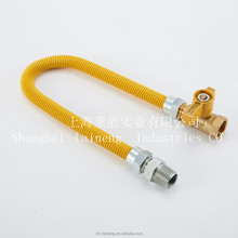 CSA APPROVED YELLOW COATED GAS CONNECTOR SS FLEXIBLE GAS HOSE VALVES