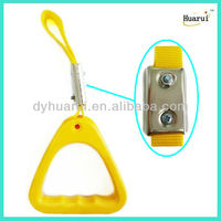 Yellow interior bus lifting handle with advertising
