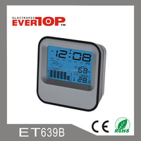 TRAVEL ALARM TABLE CLOCK WITH TEMPERATURE AND HUMIDITY AND BACKLIGHT ET639B