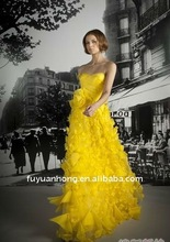 Yellow Fashion Formal Evening Dress with Lace/ FYH-ED-2011826