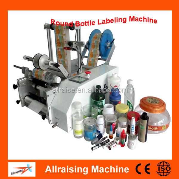 Desktop Glass/ Plastic Round Bottle Semi Automatic Labeling Machine, Manual Sticker Labeller
