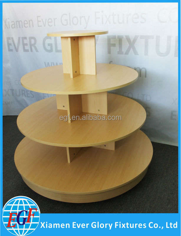 Commercial Wood Top Garments 4 Tiered Retail Display Round Table