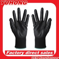 Pack of 500pairs/order free shipping Wholesale 13G Black Seamless Knitted Nitrile pu Working Gloves/safety gloves/knitted gloves