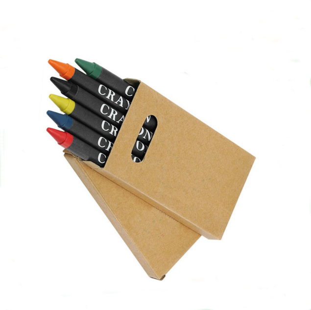 multi color 4 pack of wax crayons in cello bag, wrapping paper