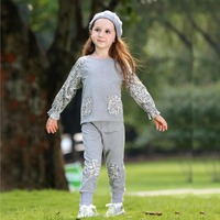 2016 New Autumn Knitted Cotton Girls Causal Clothing Set Printed Children Suit Fancy Kids Clothing CS80803-58C