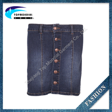 Fashion design metal button Ladies short jeans skirt with cheap price