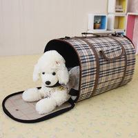 Custom wholesale attractive design luxury grid pet dog backpack original four hole chest pet bag
