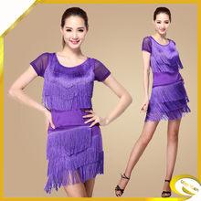 Latest fashion short sleeve fringed latin dance dress women