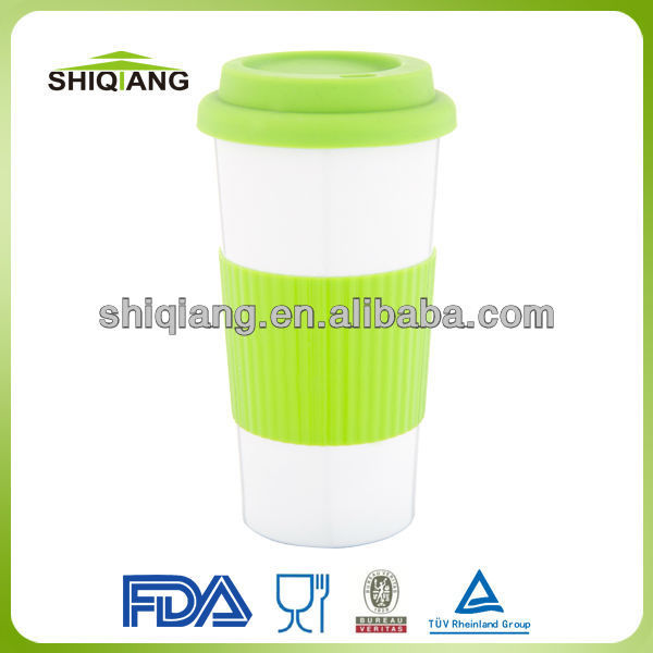 Food grade 450ml double wall stainless steel coffee mugs with rubber cover and sheath