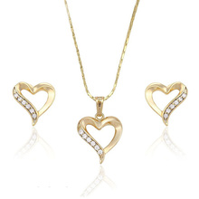 63547 Xuping 14k gold plated jewelry sets, Heart shape earring set, diamond brazilian gold jewelry