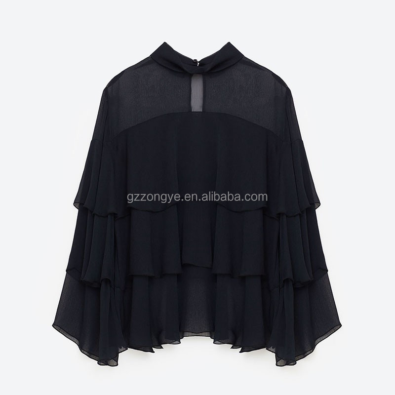 Ruffe design ladies chiffon blouse cutting stitching