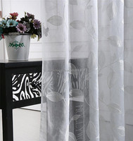 Latest designs embroidered leaf pattern sheer voile curtain fabric