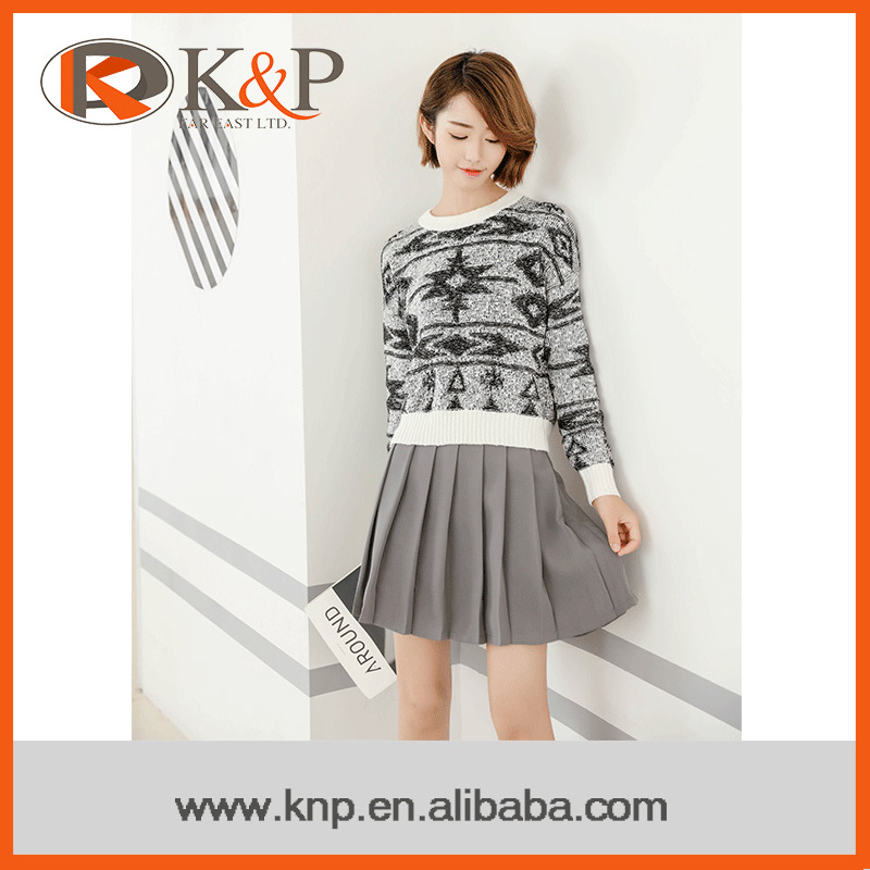 Oline shopping lady latest fashion sweater pullover black+white 2016 women's sweater