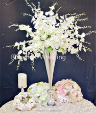 On sale tall thin conical inverse shaped silver-plated metal flower vase for wedding decoration centerpiece