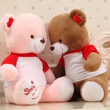 New cute baby toy stuffed plush bear with T-shirt lovely white teddy bear couple plush toy for gifts