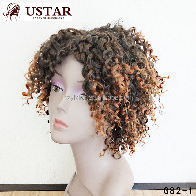 2017 New Design Front Human With Baby Hair Full Lace Curly Bob Wig Afro Black