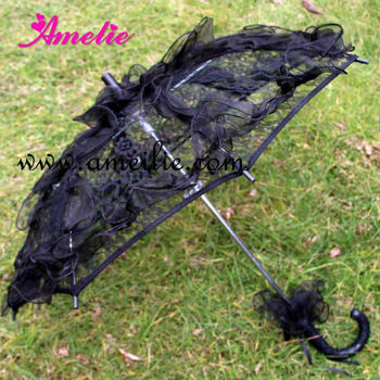 A0211 Gothic Black Bridal Shower Umbrella Decorations