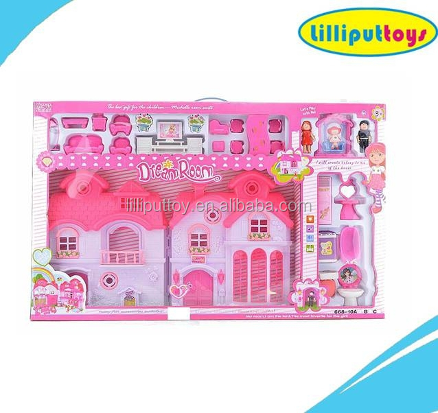 Happy Family House for Doll with Mini Furniture Pretending Toy Set
