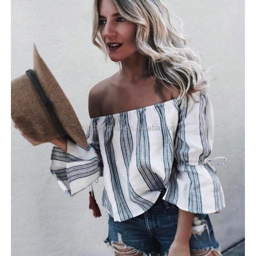 2018 New Arrival Womens Sexy Off The Shoulder Tops Belled Long Sleeve Shirts Striped Casual Tops