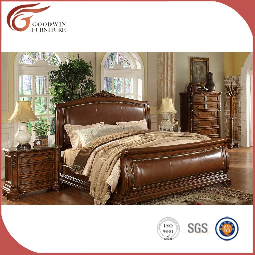 Italian leather luxury classic bedroom set <strong>A03</strong>