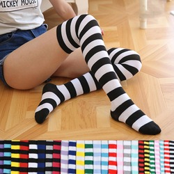 Wholesale girls black and white stripes polyester knee thigh high socks